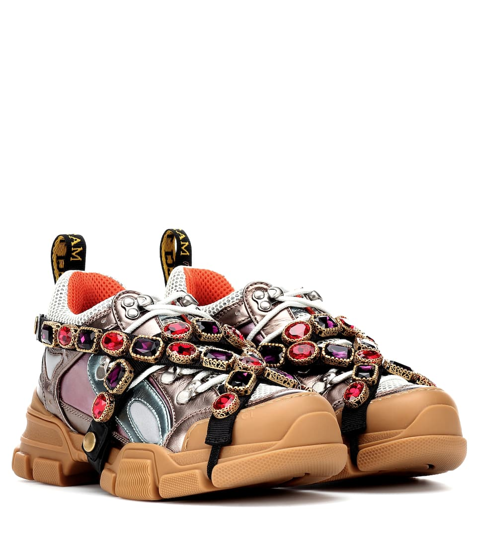 9561dade6d0 Gucci - Flashtrek embellished sneakers