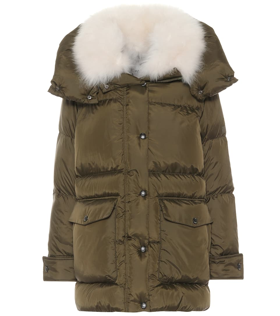 Shearling trimmed down parka