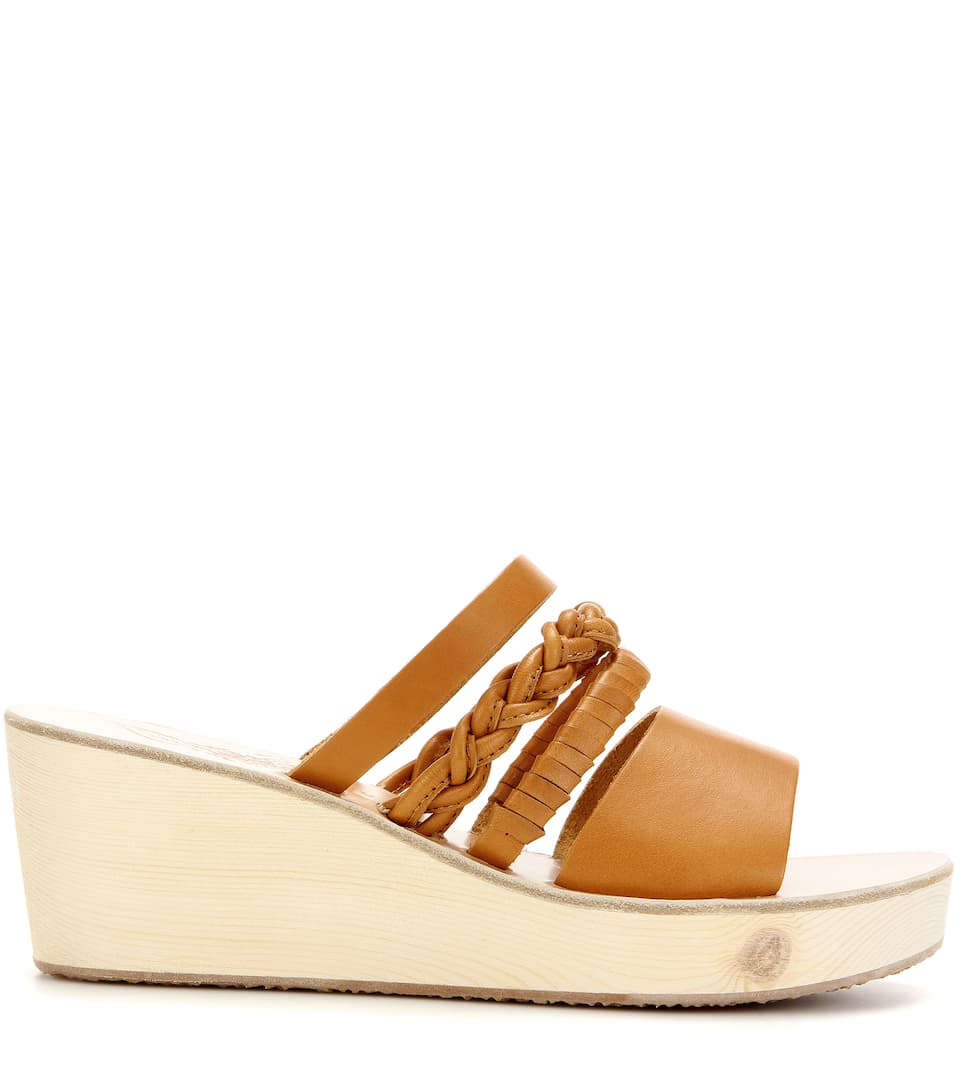 Helene leather wedge sandals Ancient Greek Sandals