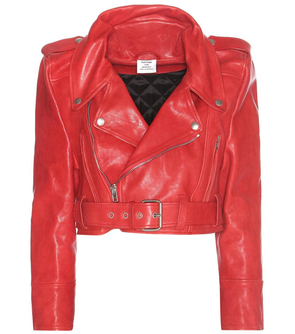 Cropped red leather jacket