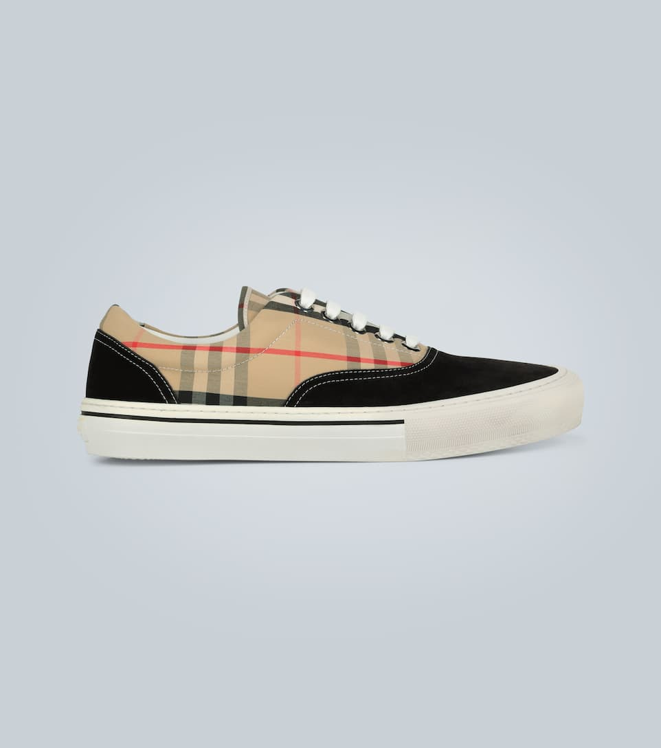 Burberry Multicolor Men's Vintage Check Cotton And Suede Sneakers In Black ,neutral