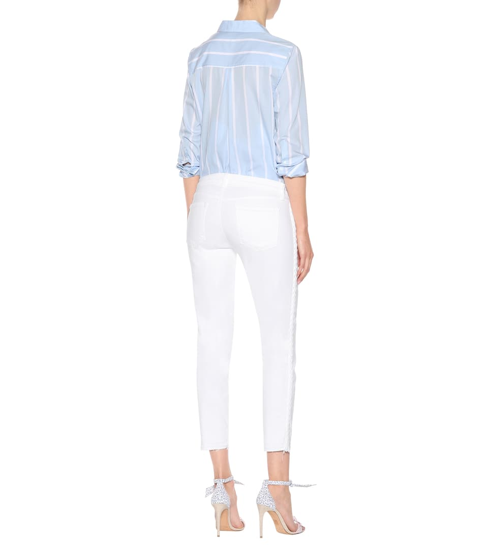 J Brand Bestickte Cropped Jeans