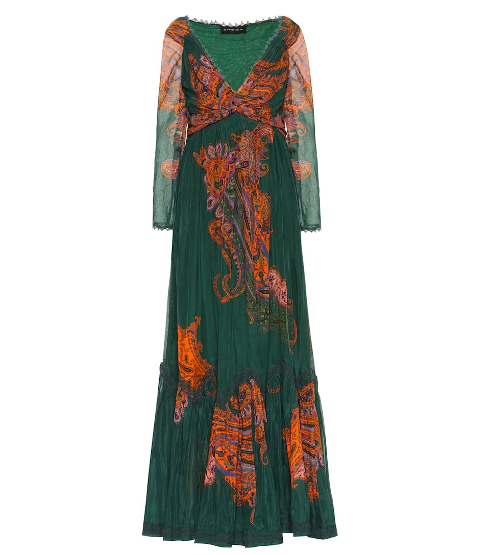 PRINTED COTTON AND SILK GOWN