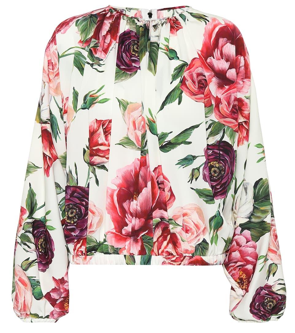 con amp; seda floral Panna estampado Gabbana de Dolce amp; Blusa Peonie wfx5qZPYP