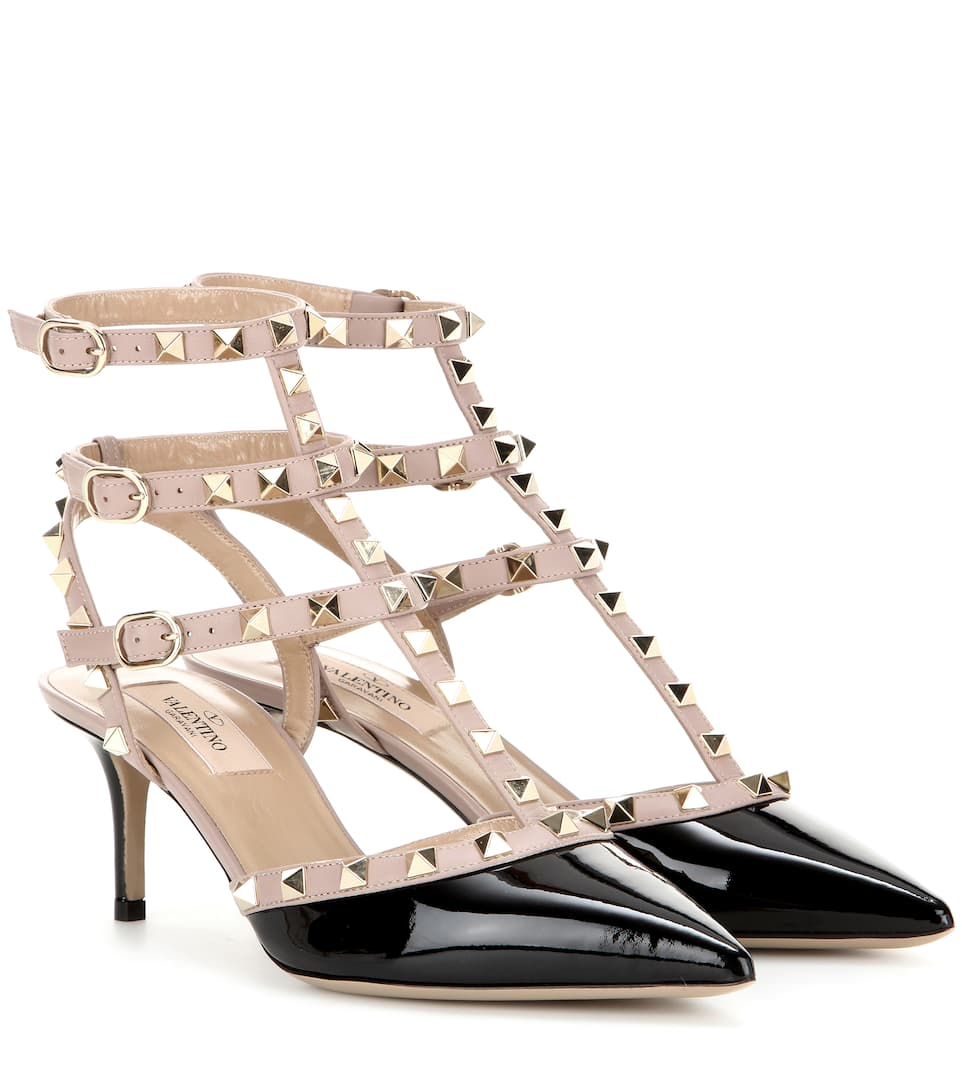Valentino Garavani Pumps Rockstud Calfskin Nappa Leather Rivets Black Beige