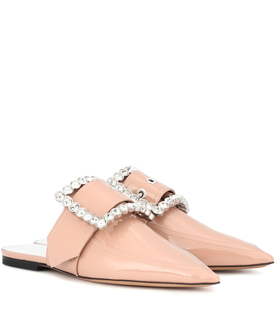 Original Online Maison Margiela Embellished patent leather slippers Nude Clearance How Much Cheap Price Low Shipping Fee Fast Delivery VoIL8TqHR