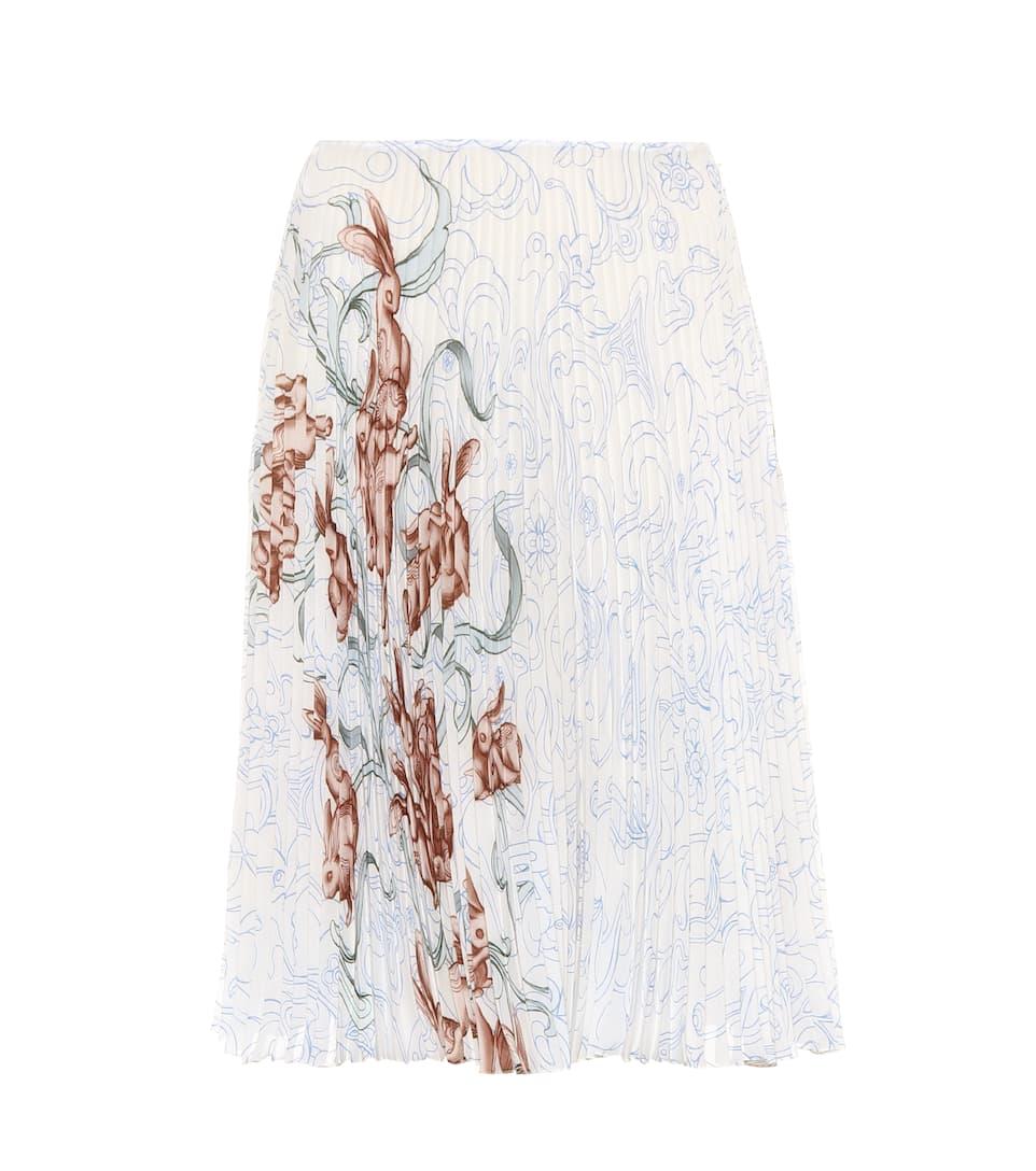Prada Printed Midi Skirt In Silk