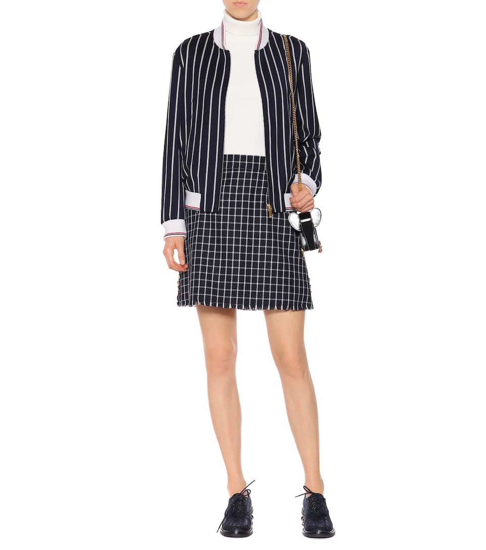 10da3f80f Thom Browne - Striped varsity jacket with lace | mytheresa.com