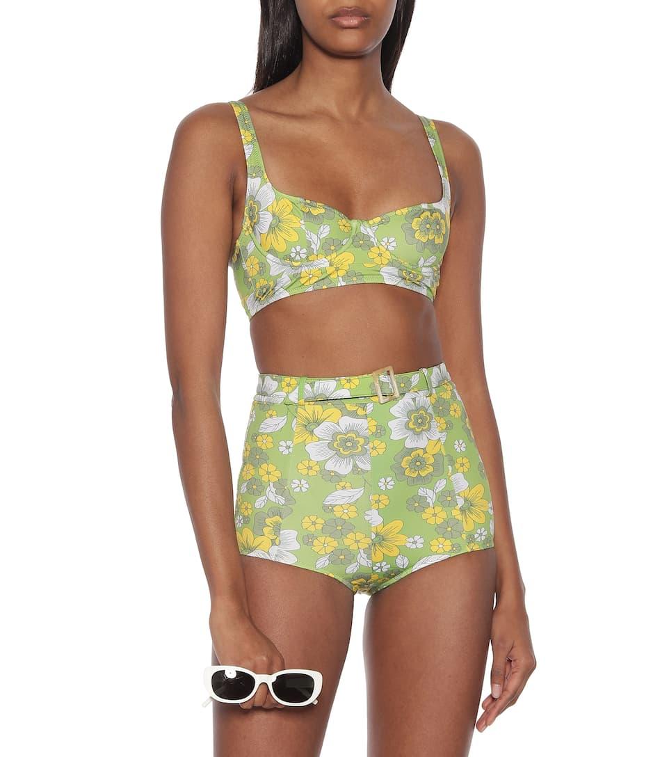 Dodo Bar Or - Floral belted high-rise bikini bottoms