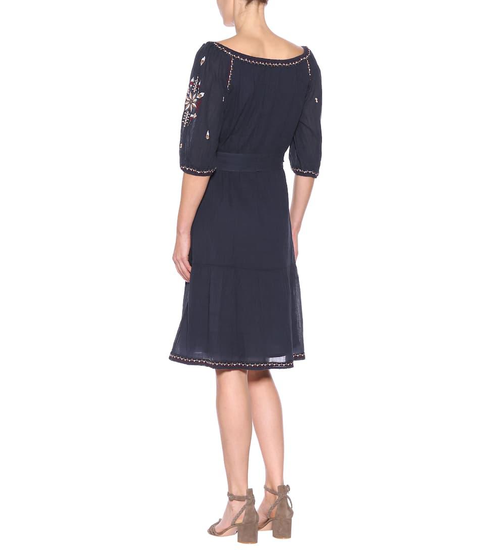 Vestido de bordado de azul marino algodón terciopelo SwS78Bq