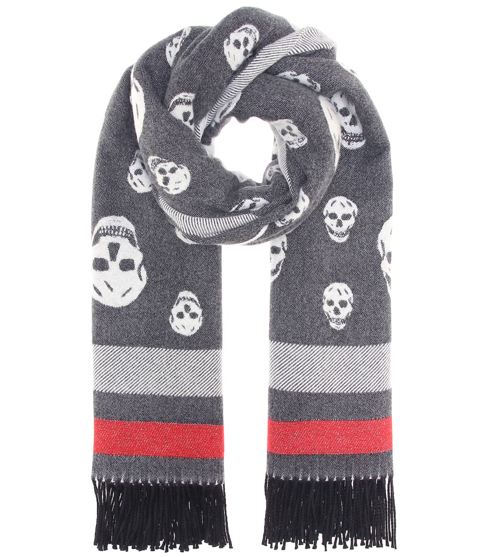 Skull Wool And Cashmere Scarf by Alexander Mc Queen