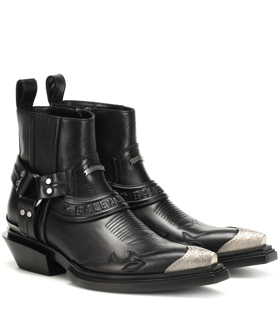 Santiag Harness Leather Ankle Boots