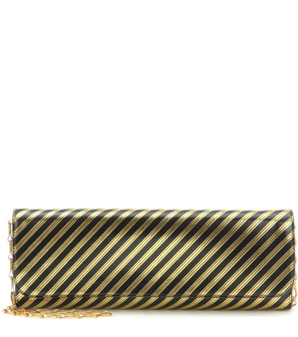 Balenciaga Gestreifte Clutch Pochette M aus Metallic-Leder