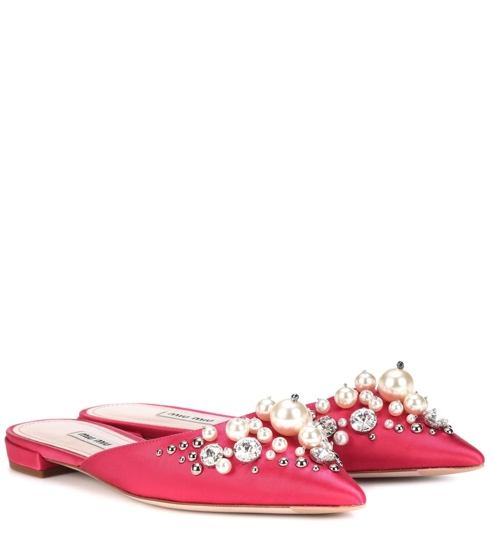EXCLUSIVE TO MYTHERESA.COM - EMBELLISHED SATIN SLIPPERS