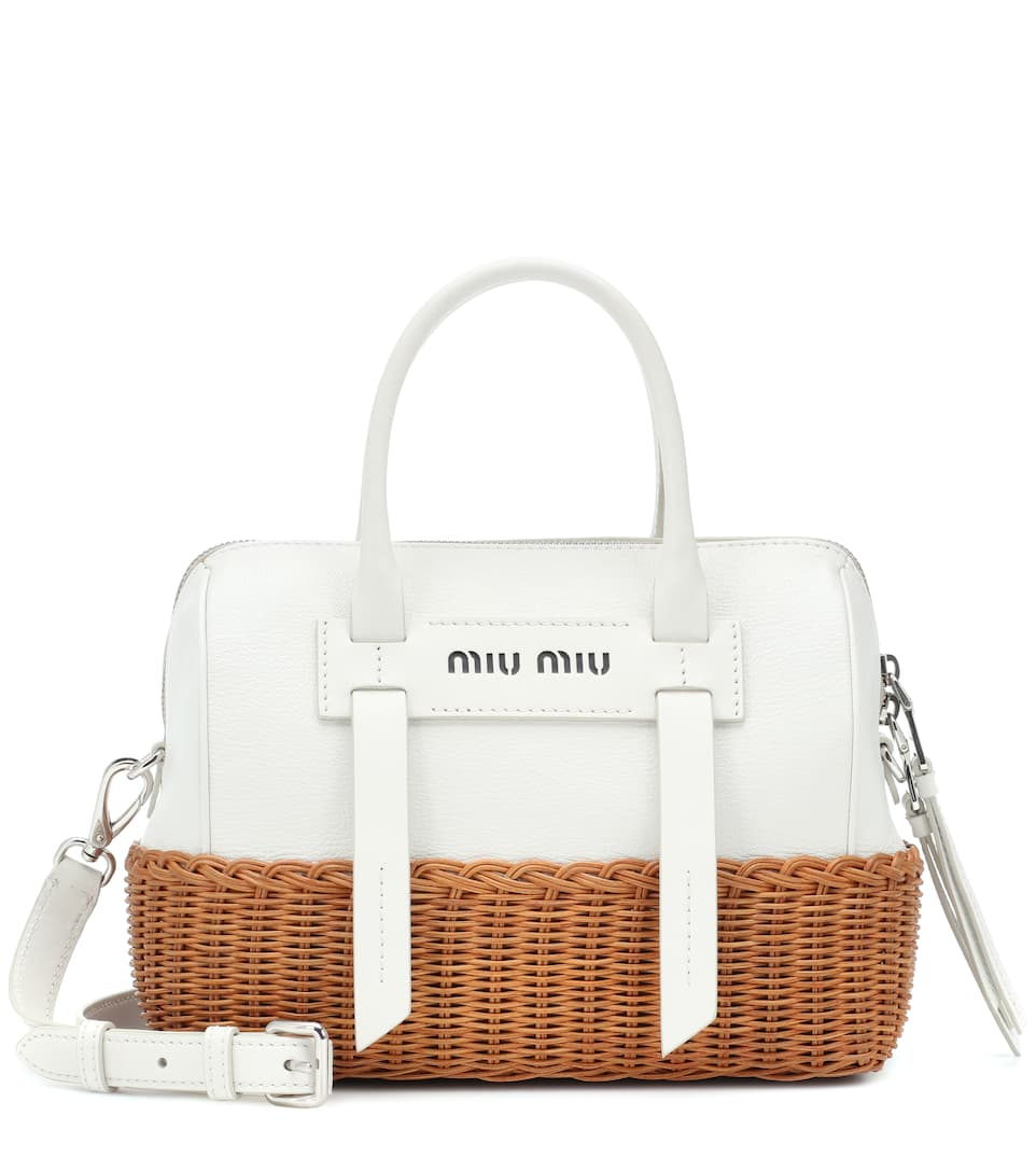 Miu Miu - Leather and wicker shoulder bag