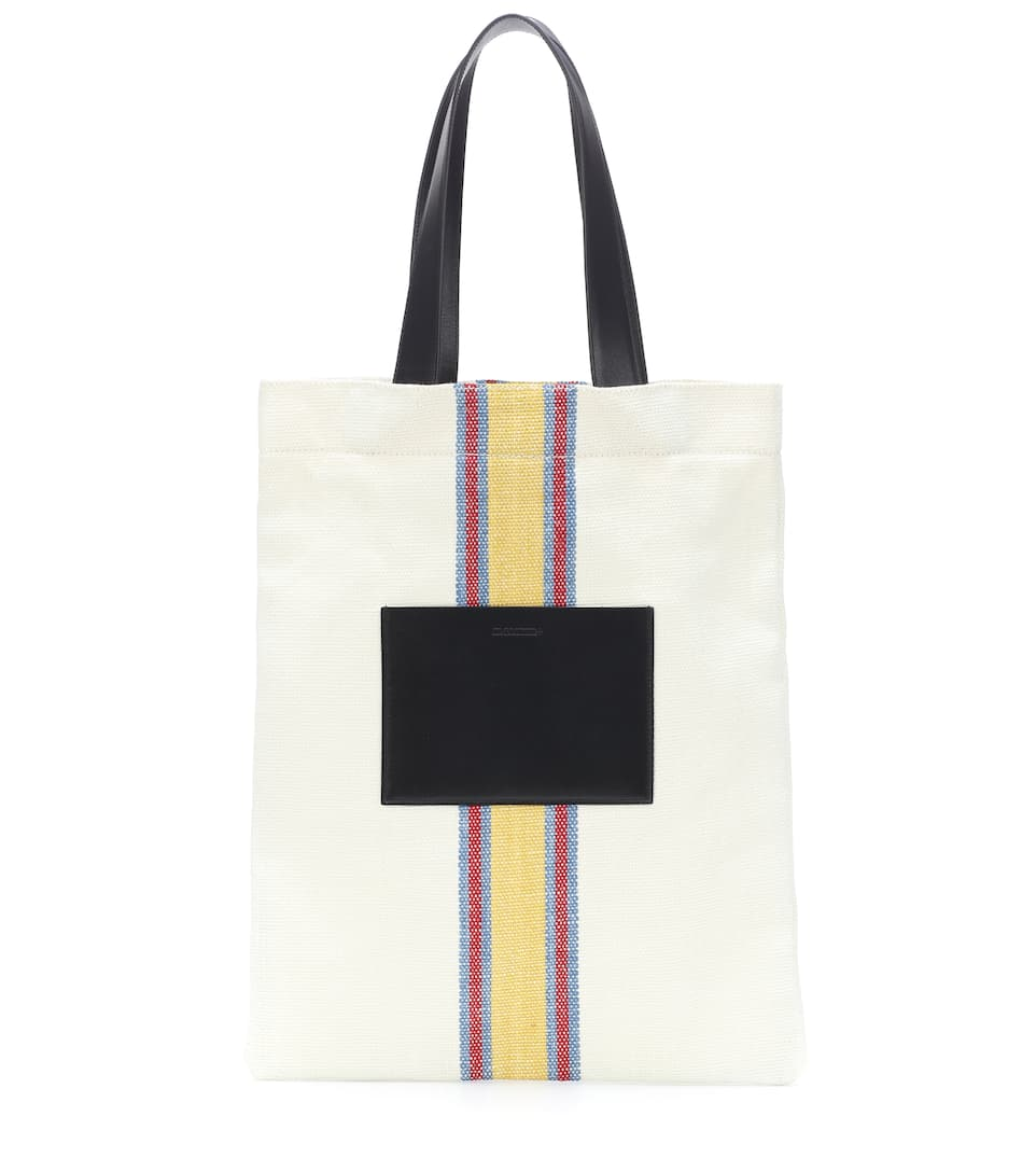 Leather trimmed canvas tote bag