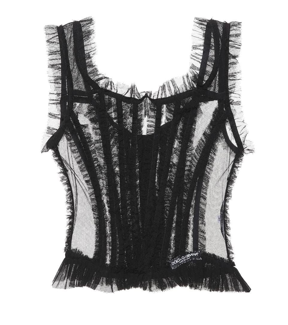 Cotton Blend Tulle Top by Dolce & Gabbana
