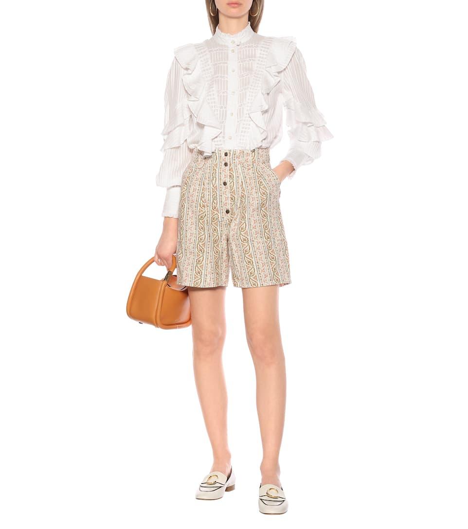 Etro - Paisley high-rise cotton shorts