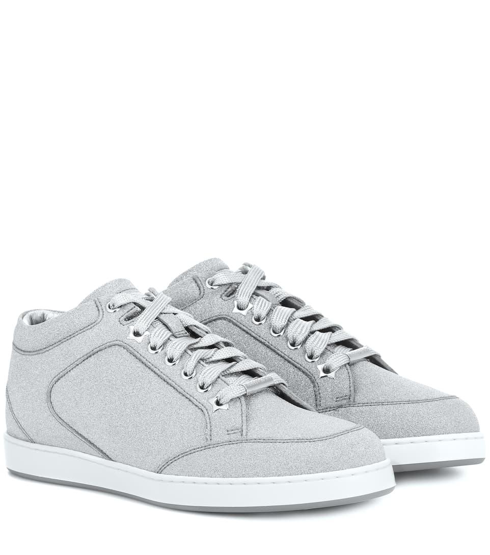 Jimmy Choo Miami Leather And Glitter Sneakers Mytheresa