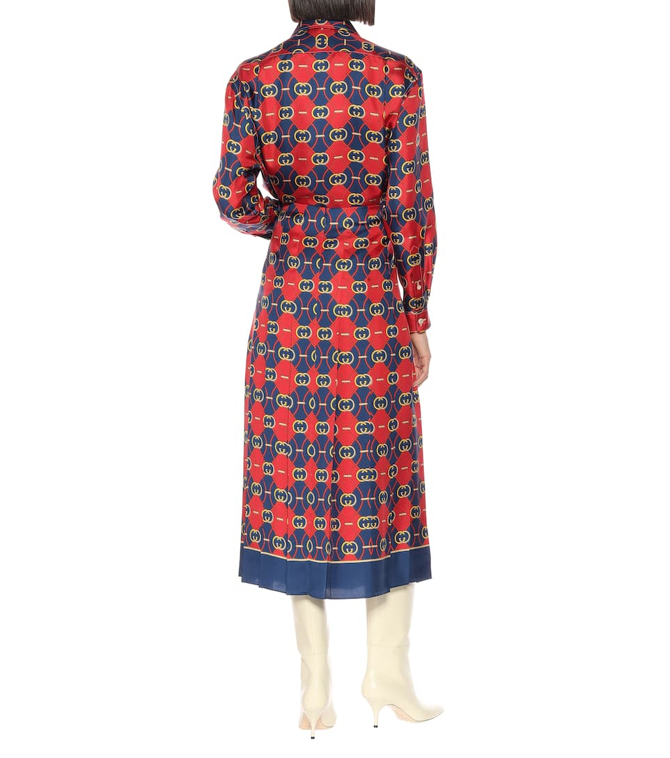 b7e206f7e33ae0 Printed Pleated Silk Midi Skirt - Gucci | mytheresa