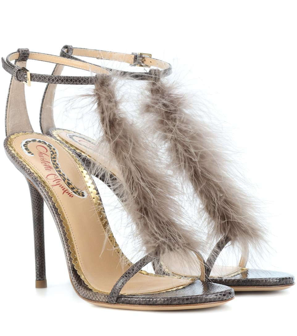 Charlotte Olympia Sandals Provocateur Ostrich Feathers With