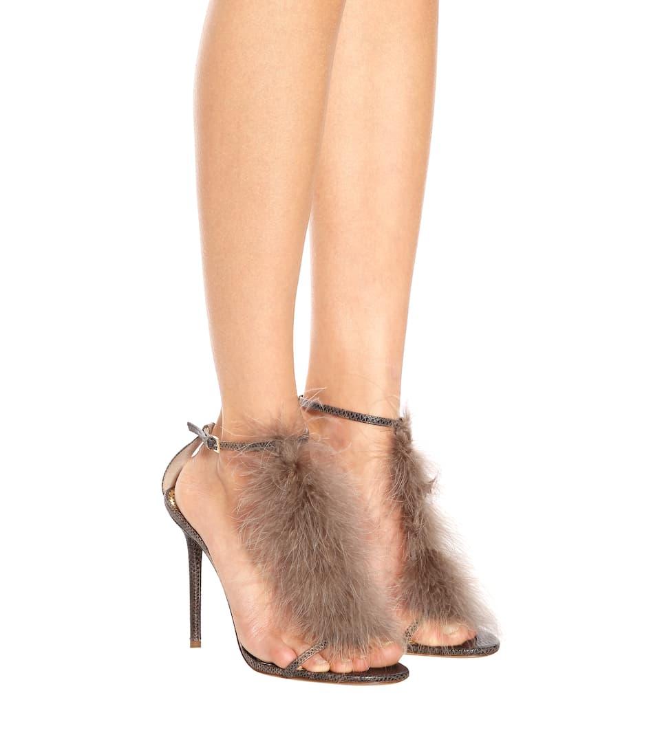 Sandales en cuir et plumes dautrucheCharlotte Olympia PUWs3kY