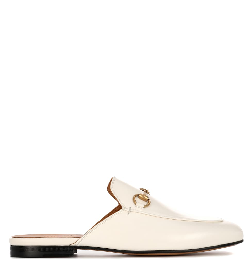 Gucci Princetown Horsebit-Detailed Leather Slippers In White