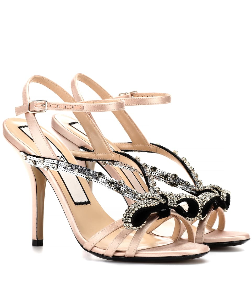 SEQUINNED SATIN SANDALS