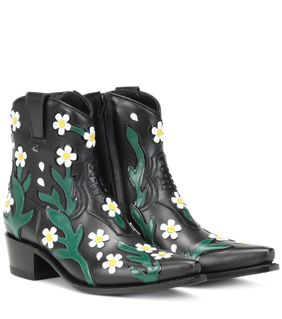 Valentino - Valentino Garavani Ranch Flowers 40 leather ankle boots