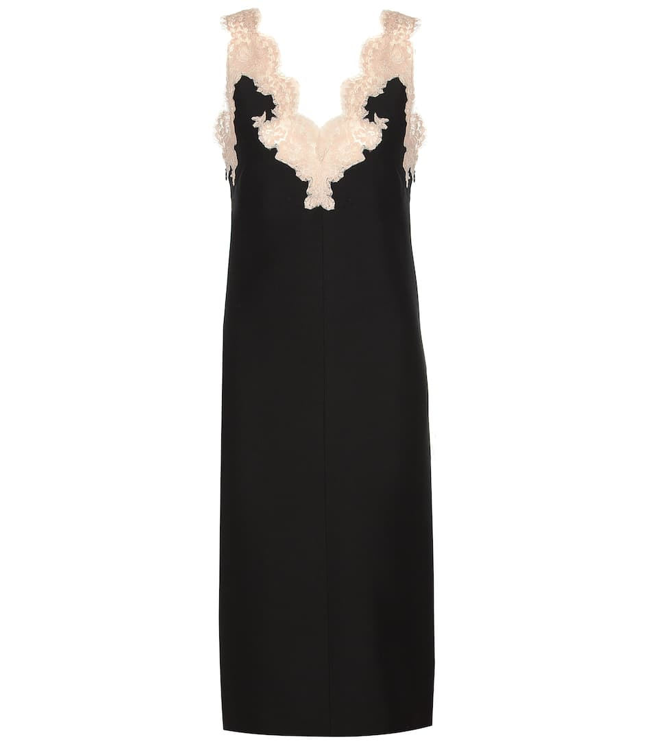 Valentino Lace-trimmed virgin wool and silk dress