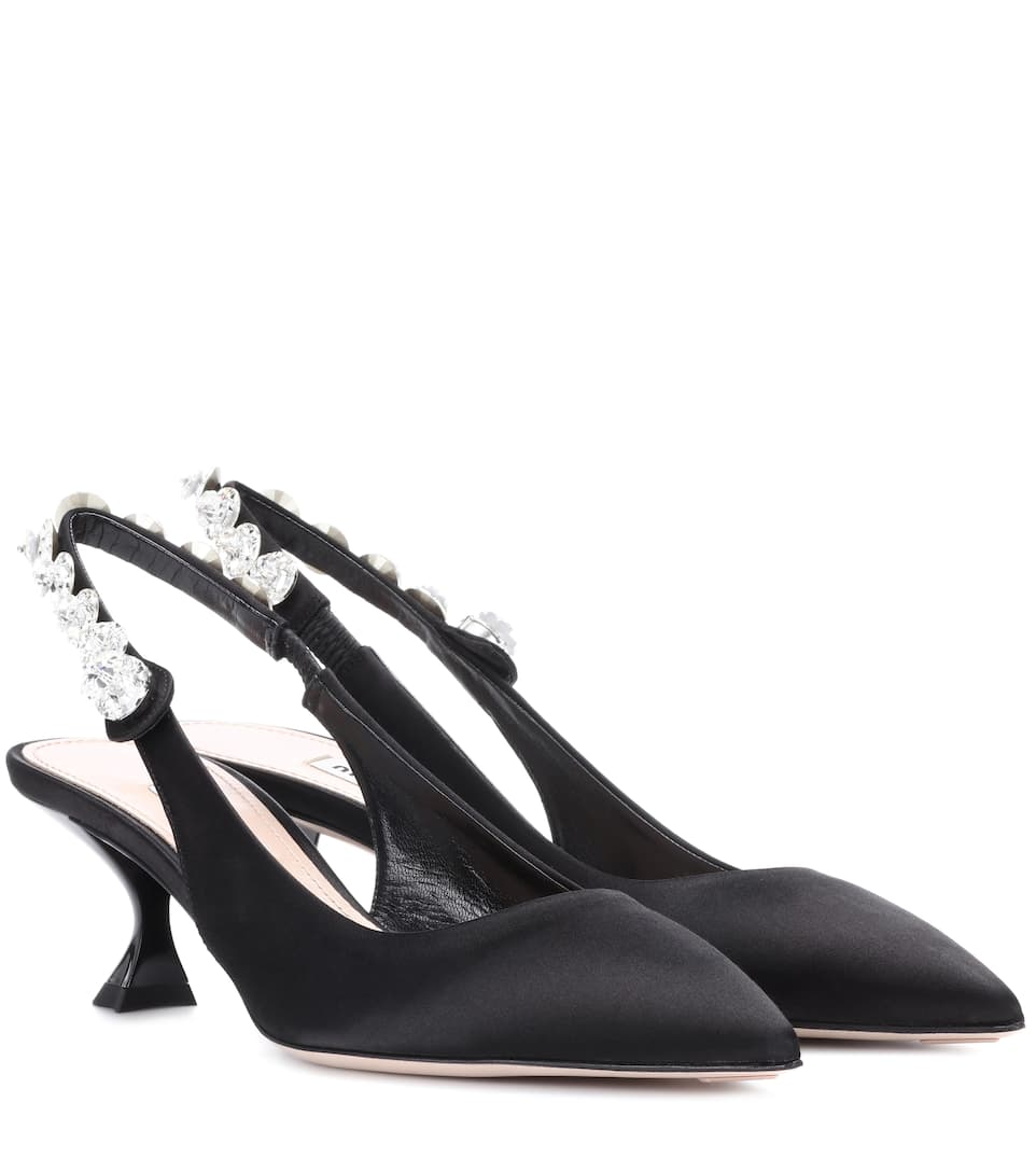 Crystal-Embellished Satin Slingback Pumps, Black
