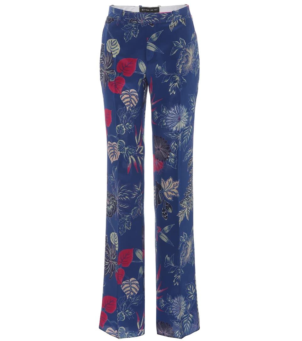 estampado azul seda Pantalon etro Pantalon etro 0fFn7awOx