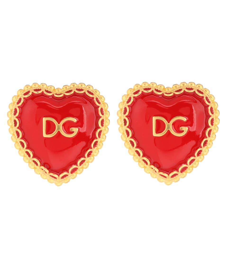 DOLCE & GABBANA Gold-Tone And Enamel Clip Earrings