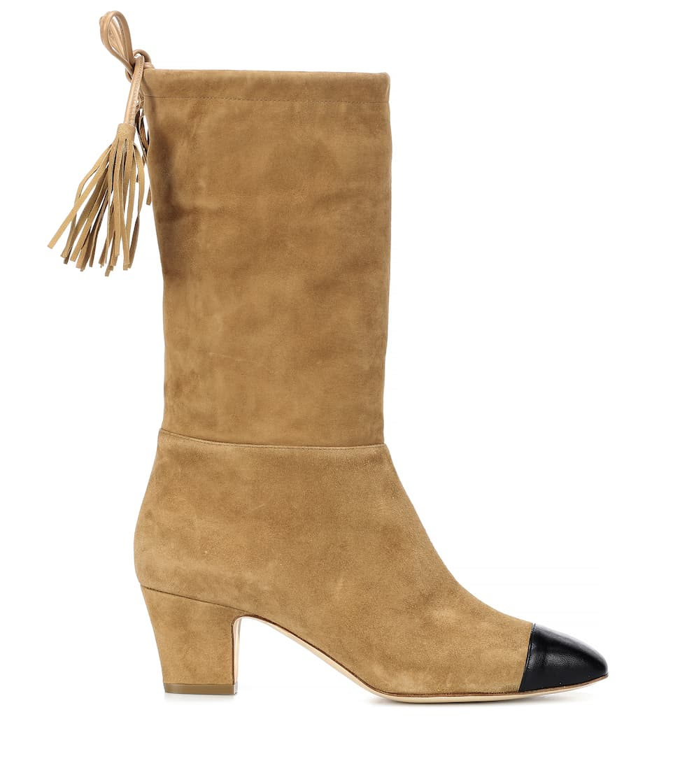 Outlet Huge Surprise Rupert Sanderson Tiptoe suede boots Brown/Black Real Cheap Price Largest Supplier Cheap Price o7fdbKbsDx