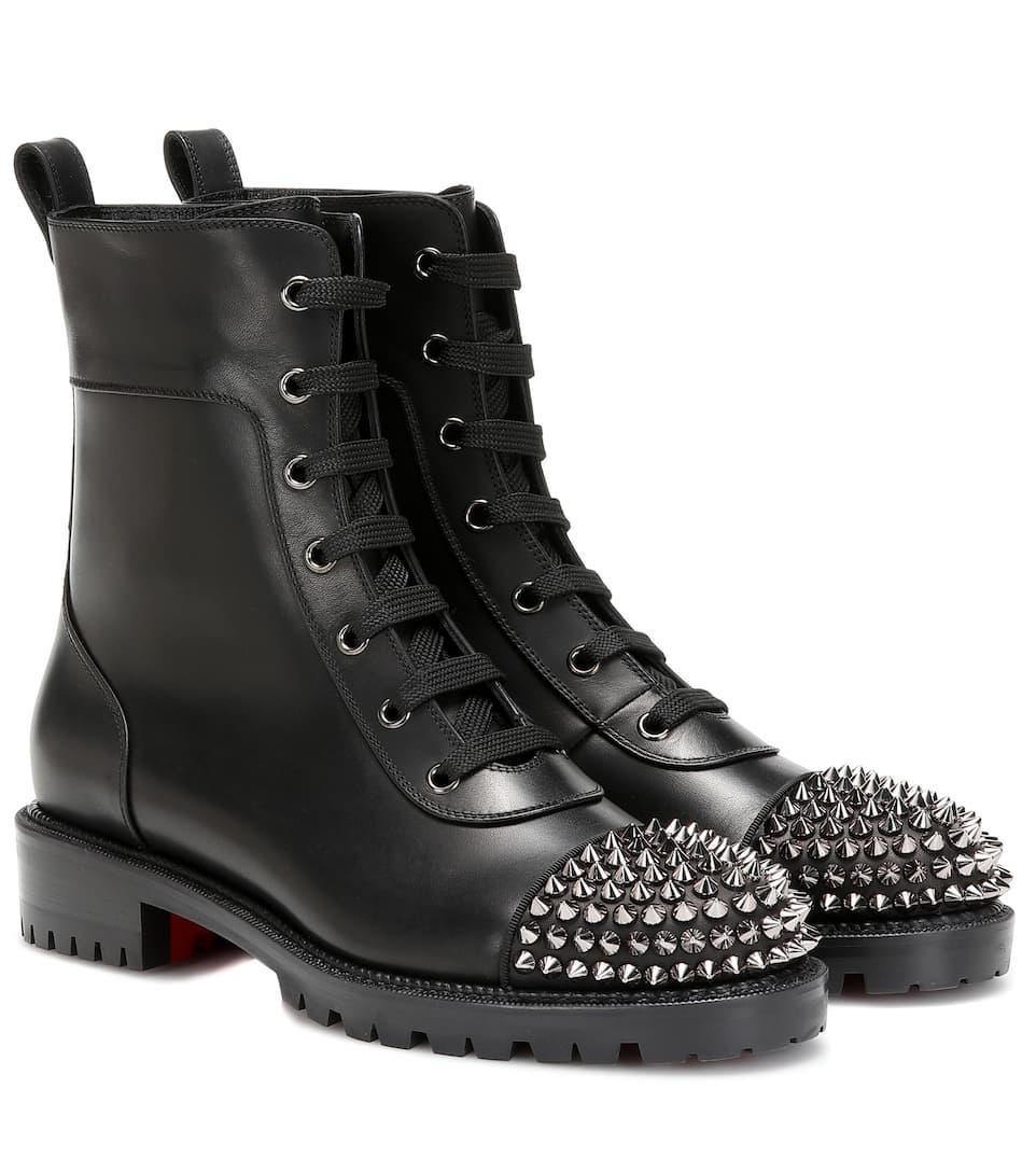 Ts Croc Studded Leather Combat Boots