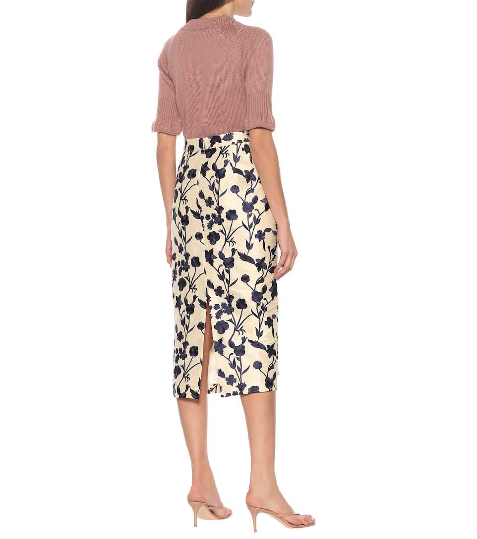 Brock Collection - Quercini floral-jacquard midi skirt