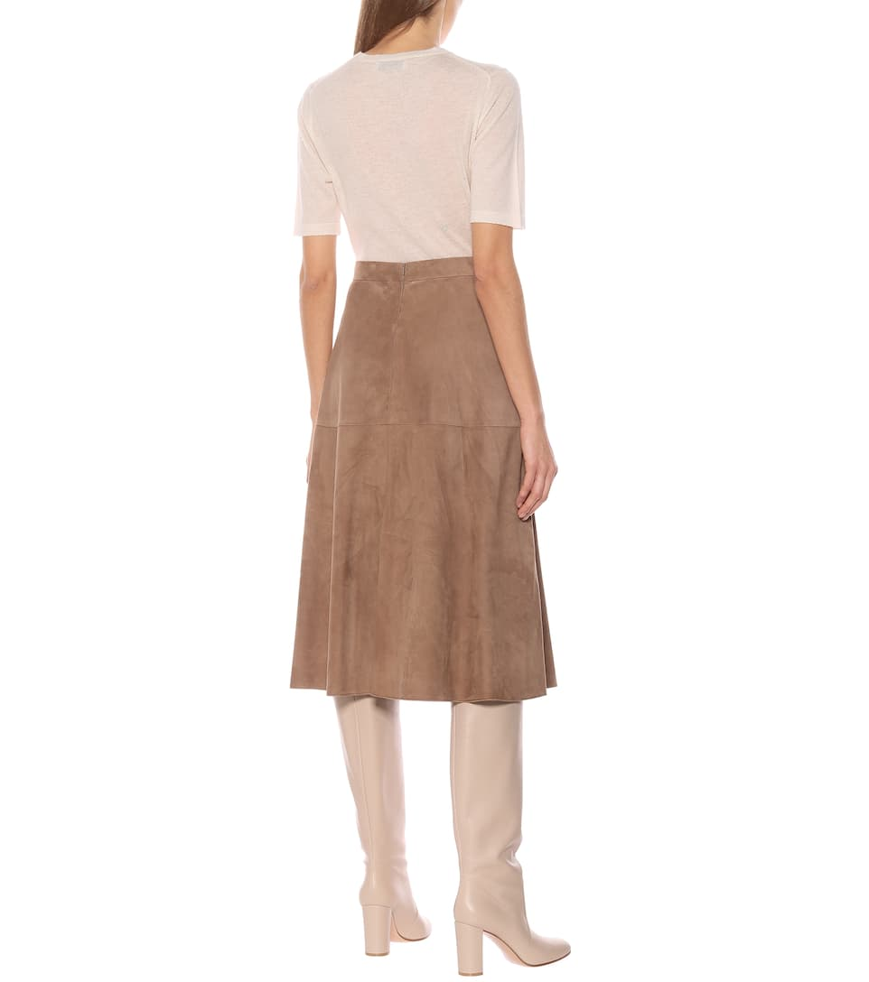 S Max Mara - Onore high-rise suede midi skirt