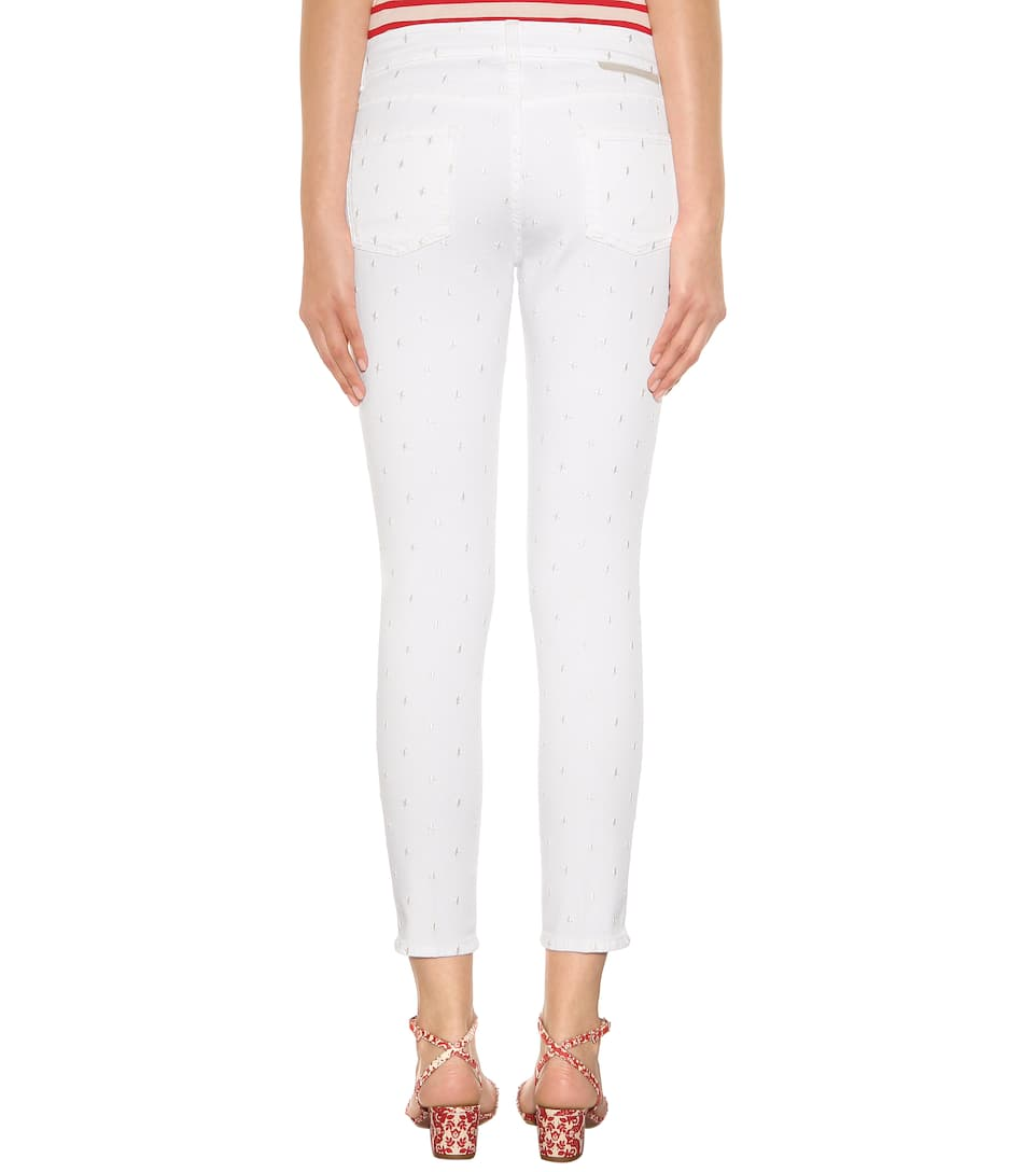 Embroidered cropped skinny jeans stella mccartney