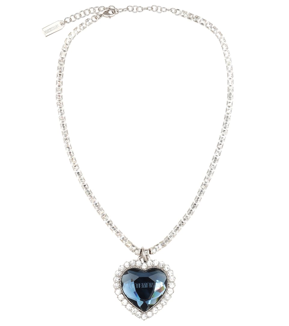 White Simulated Glass Pearl With Crystal Heart Pendant Necklace With T-Bar Closu
