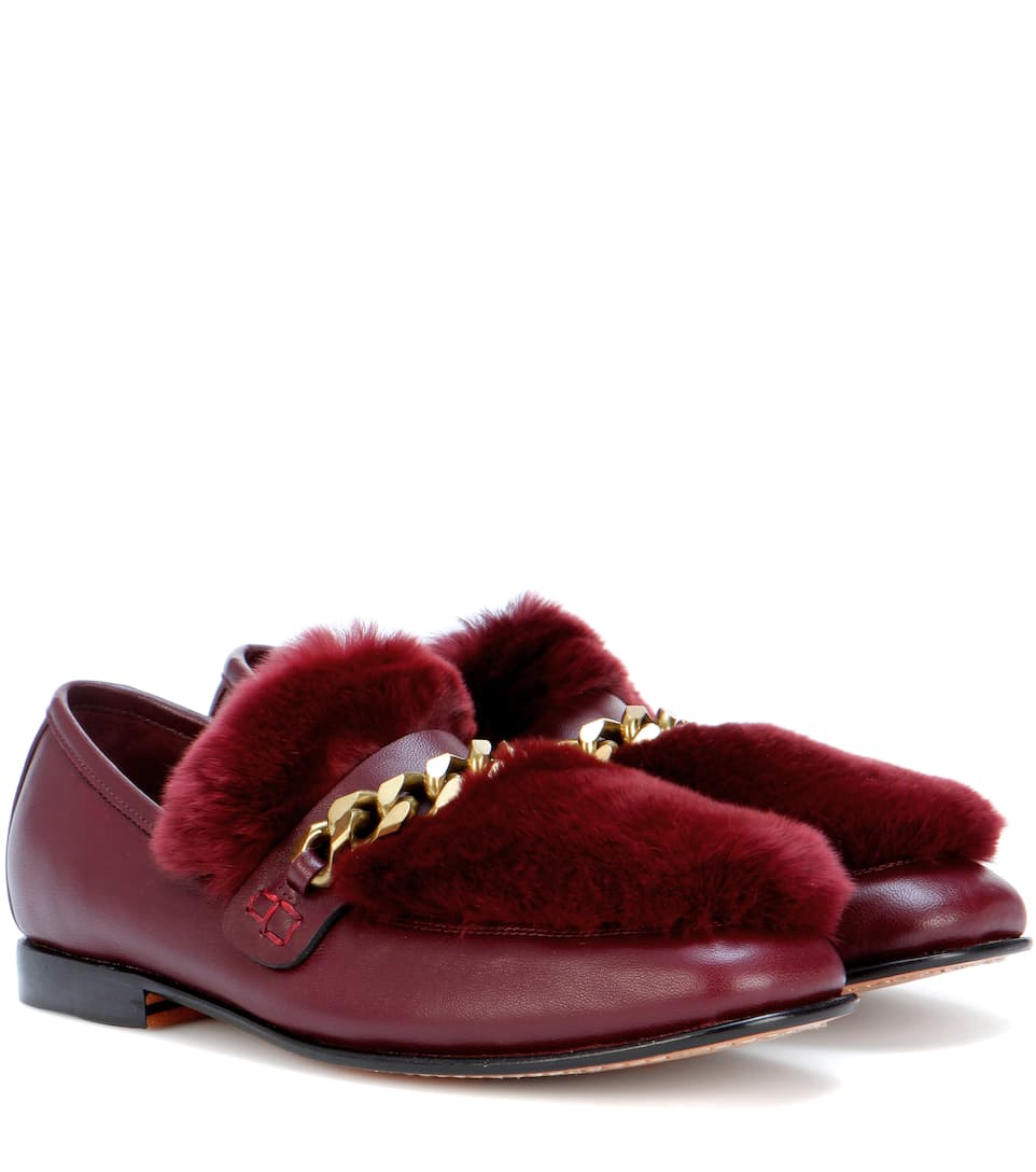 BOYY Loafur Fur-Trimmed Leather Loafers in Lordeaux
