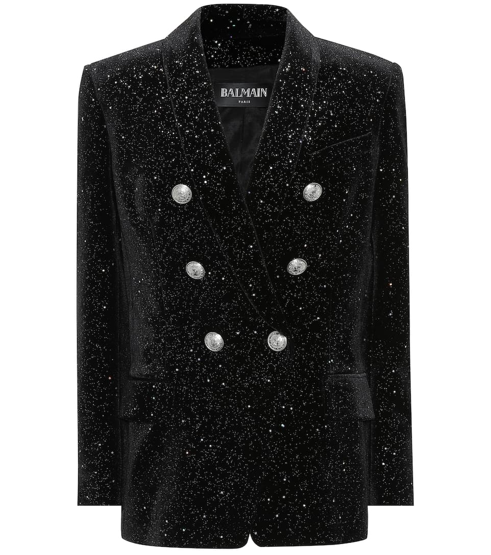 Balmain Velvet blazer Noir/Argent Cheap Sale Choice Low Price Fee Shipping Free Shipping Huge Surprise Cheap Best Store To Get Free Shipping For Sale raiH9PIN