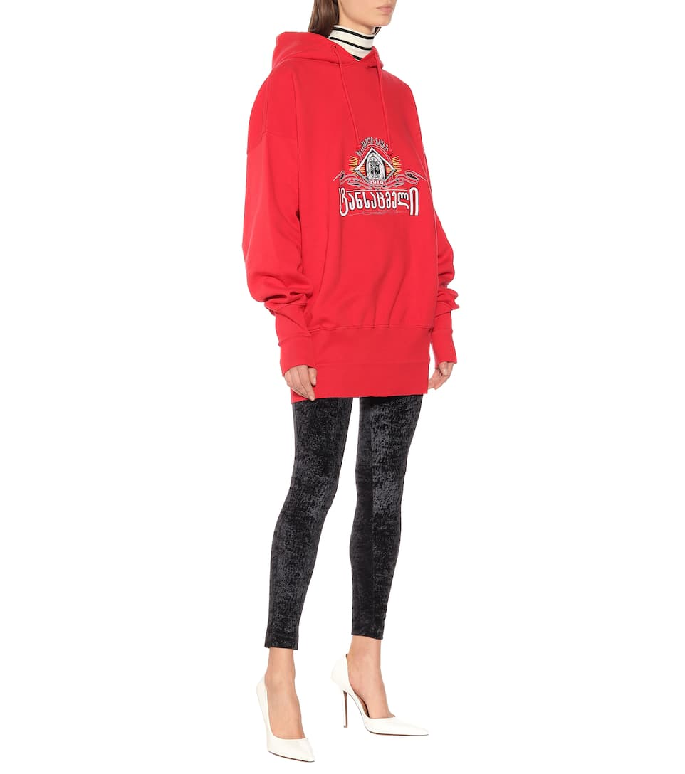 Vetements Accessories Embroidered oversized cotton hoodie
