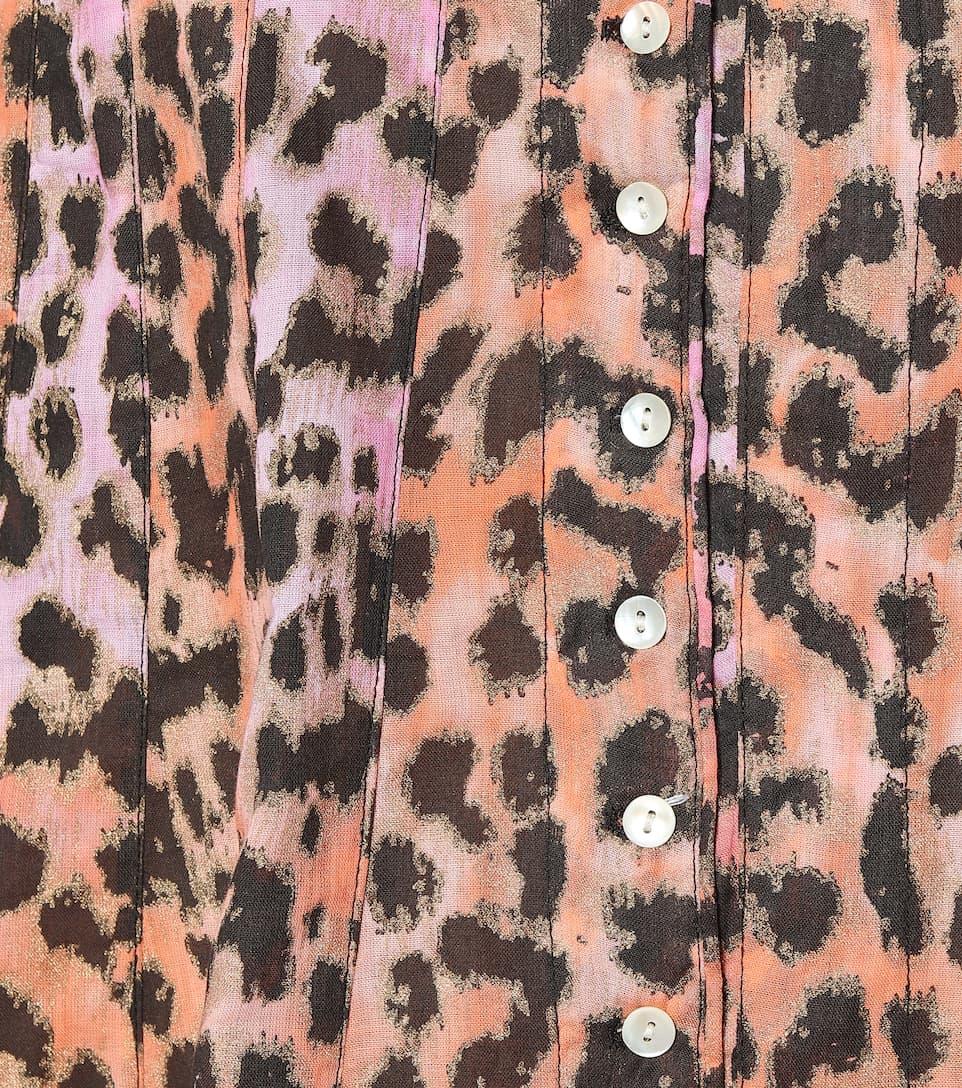 Printed Cotton Mini Shirt Dress - Juliet Dunn
