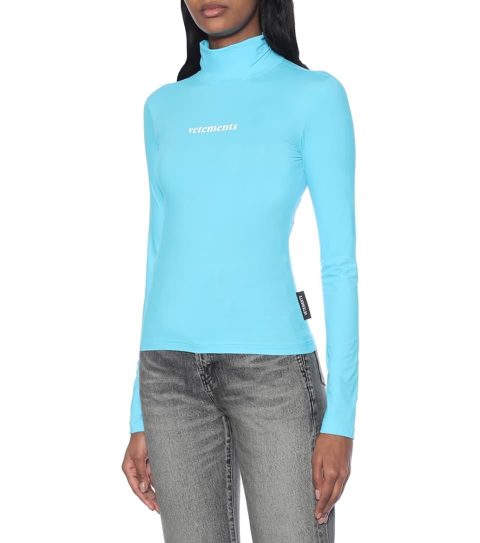 Vetements - Logo stretch-jersey turtleneck top