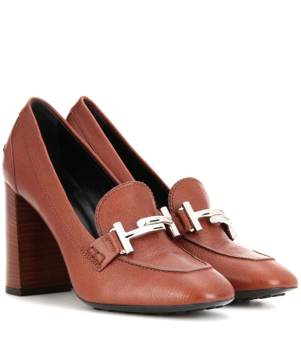Tod's Double T leather loafer pumps