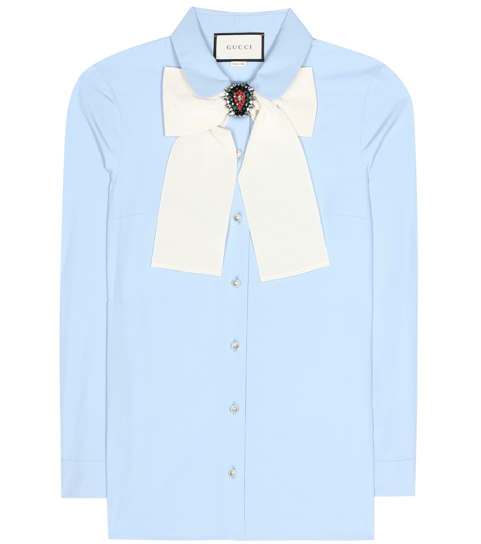 Gucci Verzierte Bluse aus Baumwollpopeline Rabatt Fälschung Low-Cost Online Billig Verkauf 100% Authentisch Günstiger Preis Auslass Verkauf BhALqwOn