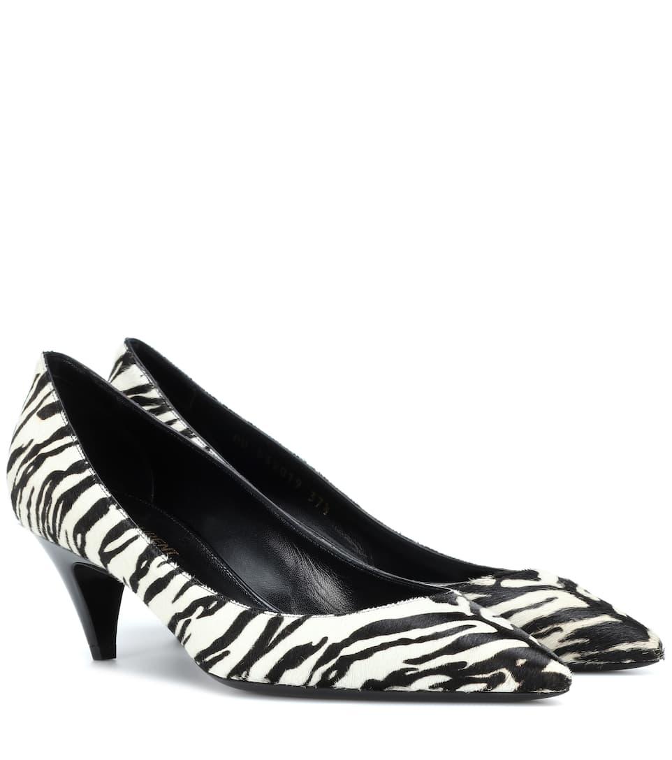 Calf Hair Zebra Printed Pumps by Saint Laurent