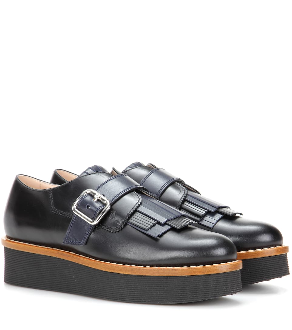 Tod's Gommino platform leather shoes jVubDFW6