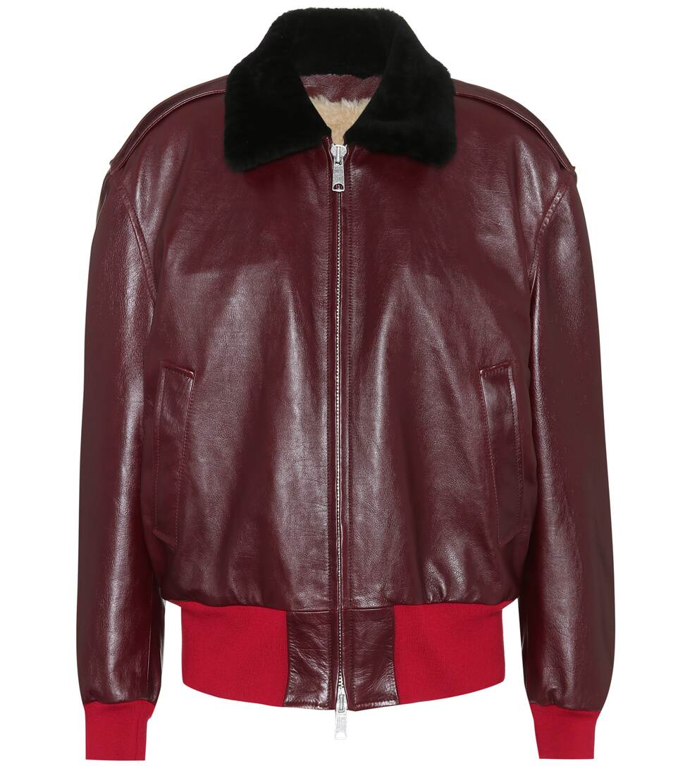 SHEARLING-LINED LEATHER BOMBER JACKET