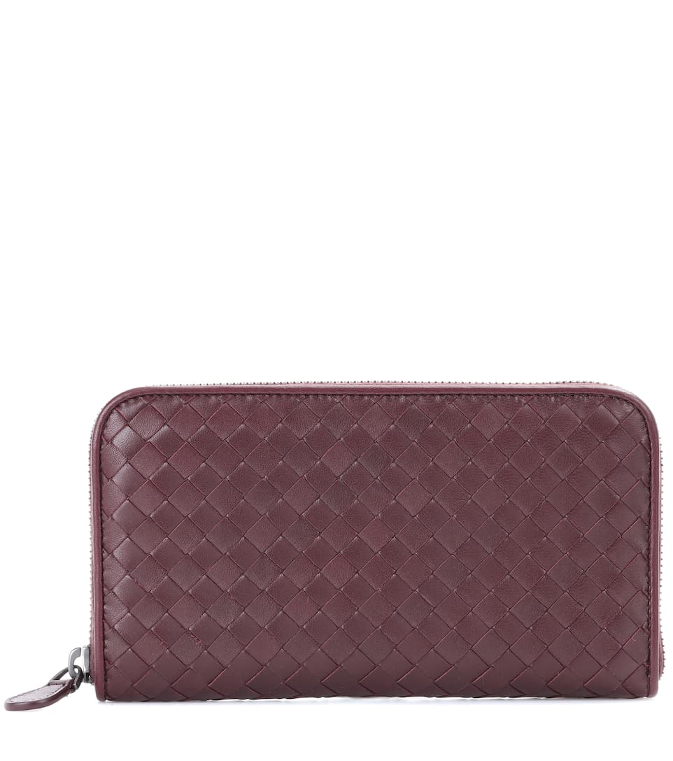 Woven Zip-Around Leather Wallet in Brown
